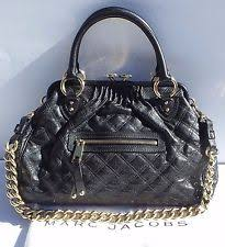 Marc Jacobs Quilted Stam Handbag | eBay & MARC JACOBS Collection Black Quilted Leather Stam Bag Gold Chain Satchel  Bag GUC Adamdwight.com