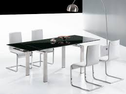 Kitchen:Fancy Futuristic Modern Kitchen Table Set With Expandable Top And  Solid White Dining Chairs