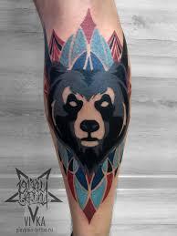 мужская тату медведь на голени сделать тату у мастера вики салон
