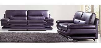 purple three tone leather modern sofa loveseat chair set