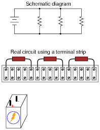 building simple resistor circuits series and parallel circuits Power Strip Wiring Diagram next, trace the wire connection from one side of the battery to the first component in the schematic, securing a connecting wire between the same two points Wiring Diagram AC Power Strip