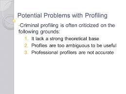 chapter criminal profiling questions from my last lecture youth  18 potential problems profiling criminal profiling is often criticized on the following grounds 1 it lack a strong theoretical base 2