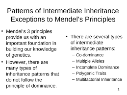 principle of dominance patterns of intermediate inheritance exceptions to mendels