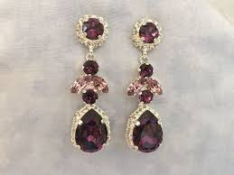 amethyst swarovski crystal embellished teardrop dangle earrings the crystal rose bridal jewelry and accessories