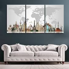 Waterfall woods swan 3 piece canvas wall art print poster home decor. Decorative Map Of The World I By Stunning Canvas Prints