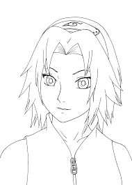 Small Picture Sakura Haruno from Naruto anime coloring pages for kids printable