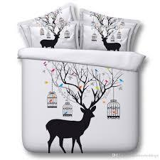 3d deer bedding sets queen elk duvet cover single twin king cal king size bedspreads bed linens pillow shams bird home textiles childrens bedding