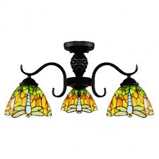 20 inch wide country style tiffany orange stained glass chandelier ceiling light