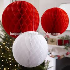 Ceiling Ball Decorations Mesmerizing Paper Honeycomb Christmas Ball Decoration Red White Vintage