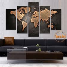 Living Room Paintings Art 5 Panel Vintage World Map Canvas Painting Prints On Canvas Wall