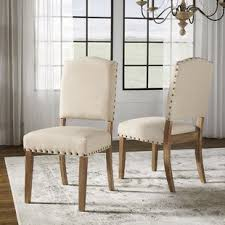pompon upholstered dining chair set of 2