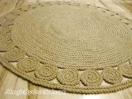 natural rug round jute rug 4 ft 120 cm hand crochet rug braided rug no 028