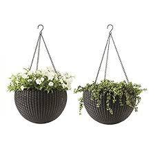 Round Plastic Resin Garden Plant Hanging Planters Decor Pots 2 pc