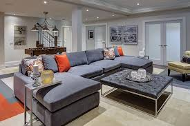 Interior Design Basement Fascinating Awesome Modern Looking Family Room With Gray Sectional And Neutral