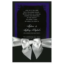 Black And Purple Invitations Eerie Grunge Frame Black Purple With White Bow Halloween