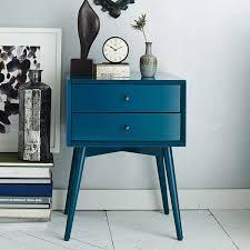Mid Century Modern Blue Nightstand Design