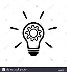 Light Bulb Symbol Copy And Paste Innovation Line Icon In Flat Style Light Bulb With Cog