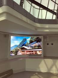 The screen is been embedded in the wall and become part of the wall. This  HD LED display with special shape ensures every guest in the center is  attracted ...