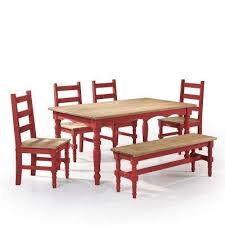 Red dining table set Dining Chairs Jay 6piece Red Wash Solid Wood Dining Set With 1bench The Home Depot Rectangle Bench Seating Red Dining Room Sets Kitchen