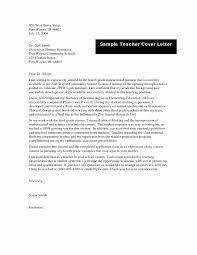 Sample Cover Letter Format Luxury Teacher Cover Letter Template Best