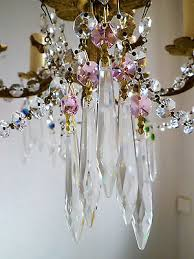 pretty pink crystal cut glass crystal icicle chandelier drops x 5 spares crafts
