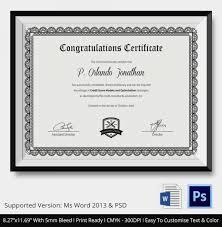 Congratulation Certificate Congratulations Certificate Template 10 Word Psd Documents