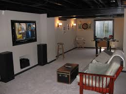 Decorations:Gym Concept In Basement Design With Treadmill And Home Theatre  Idea DIY Finished Remodeling