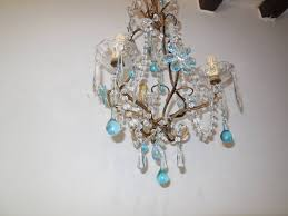 french aqua crystal prisms drops and flowers chandelier circa 1920 in excellent condition for