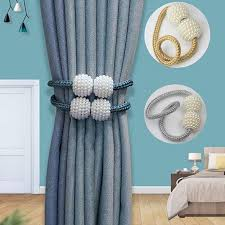 <b>1x pearl new magnetic</b> hanging ball curtain clip curtain pearl tie rope ...