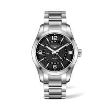 longines conquest classic gmt automatic men s steel bracelet watch