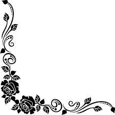 花のイラストフリー素材コーナーライン角 No127白黒バラ葉