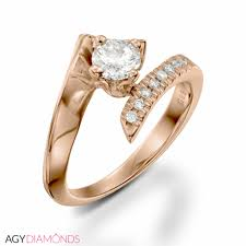 Engagement Rings Elegant Designs 0 48 Total Carat Designer Engagement Round Diamond Ring In Rose Gold Center Stone 0 40 Carat