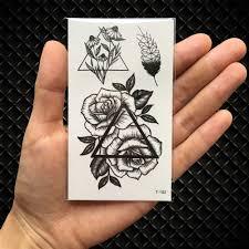 черный геометрический принт кошка временная татуировка луны оленей розы