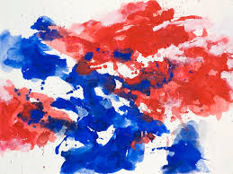 red blue abstract watercolor painting on paper nr g 622