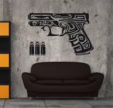 wall art sticker decal vinyl tribal pistol gangster punk