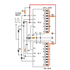 how to produce 18 sequential outputs by cascading 4017 ic light Basic Electrical Wiring Diagrams at 4017 Wiring Diagram