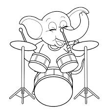 Leuk Voor Kids Olifant Met Drumstel Kleurplaten Home Decor