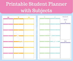 Student Daily Planner With Subjects Student Planner Printable With Subjects Middle School Planner