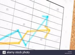Finance Chart On Cork Board Shallow Dof Stock Photo