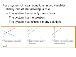for a system of linear equations in two variables exactly one of the following is