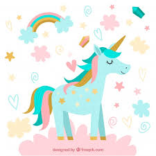 Free Vector | <b>Pretty unicorn</b> background with clouds and stars