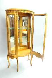 decoration antique french curio cabinet furniture small xv style gold curved glass display case corner