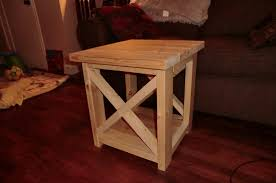 smaller rustic x end table