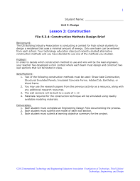Engineering Design Brief 5 3 4 Construction Methods Design Brief