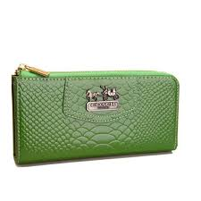 Latest Coach Madison Continental Zip In Croc Embossed Large Green Wallets  Agg Sale 1SpLd