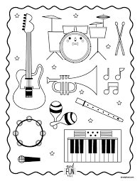 Small Picture Nod Printable Coloring Page Instruments for Musical Kiddos