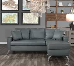 com divano roma furniture bonded leather sectional sofa small space configurable couch light grey kitchen dining