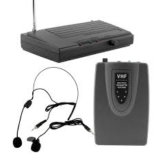 sound system wireless: vhf microphone system wireless lapel headset microphone mic public speaking singing sound bodypack trans