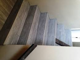 after photo of stairs porcelain tile stairway