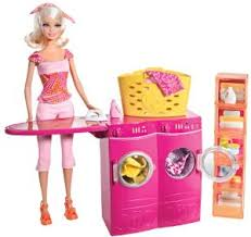 Barbie Spin To Clean Laundry Room and Barbie Doll Set by Mattel